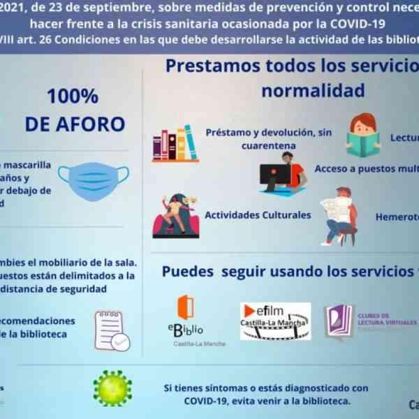 Medidas de prevención en bibliotecas públicas de Miguelturra